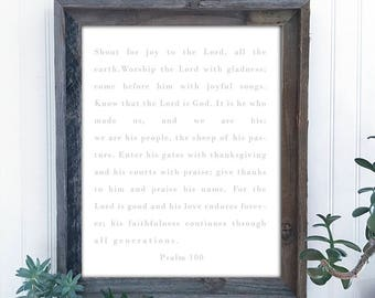 Psalm 100, Bible verse, prayer, spiritual, large printable, farmhouse decor, rustic, wall sign