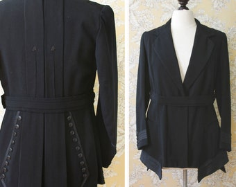vintage AS-IS Edwardian jacket <> early 1900s black wool womens jacket  <> sold in as-is condition