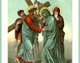 antique victorian catholic religion illustration stations of the cross station four DIGITAL DOWNLOAD