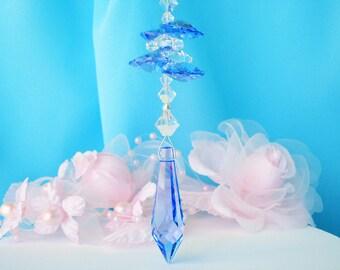 Rear View Mirror Charm Blue Swarovski Crystal Car Accessories