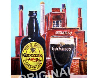 Guinness Poster, Beer Gift for Him, Ireland Dining Room Painting, St. Patrick's Day Birthday Gift, Anniversary Gift for Boyfriend, Bar Art
