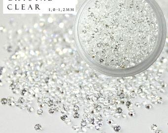 1440 pcs Pixie Crystal Clear Type Swarovski Rhinestones Nail Art Trendy Fashion Popular Style Crystals Micro Zircon Mini Beads Sparkles