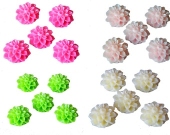 5 dahlia flower cabochons resin 15mm