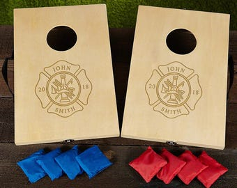 Personalized Firefighter Cornhole Game Set - Great Housewarming gift - Firefighter gift for him