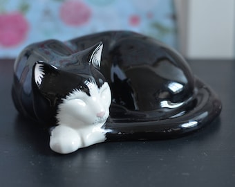 Just Cats and Co - Sleeping Black and White Ceramic Ornamental Cat - Stoke on Trent