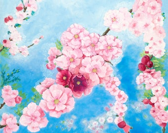Cherry Blossoms Original Oil Painting on Canvas
