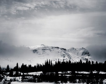 Mountain Photography Landscape Wall Art- Black and White Alaska Photography Home Decor Fine Art Photography Large