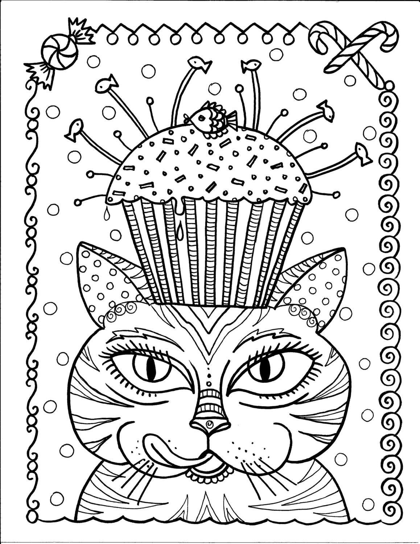 Instantánea descargar gato y Magdalena para colorear página