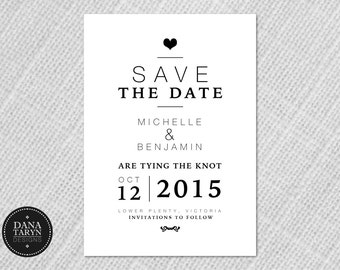 Printable Save The Dates Invitations - Simple Modern DIY