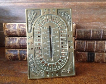Antique French Brass Seasonal Desk Calender & Thermometer  ~ Rare Find