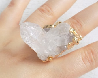 Large Crystal Ring, Statement Ring, Druzy Ring, Raw Crystal Ring, Bohemian Jewelry Gemstone Ring Crystal Jewelry Gold Adjustable Ring 10-463