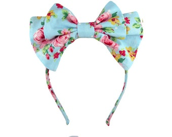 Lolita bow headbow bright blue and pink floral japanese fabric headband head band alice headdress handmade accessory
