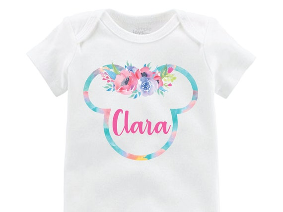 Minnie Floral Ears Onesie Personalized Onesie Flutter Sleeve Minnie Mouse Black Raglan Birthday Shirt Girl Shirt Monogram Spring Flowers