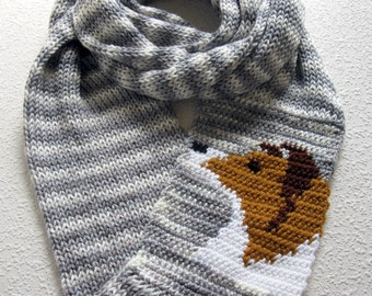 Collie Dog Infinity Scarf. Knitted scarf with collie or Shetland sheepdog. Knit Sheltie dog. Knit dog scarf. Grey striped crochet scarves