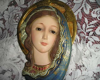 Sale Vintage Religious Beautiful Ornate Blue Virgin Mary Madonna Wall Art/Plaque w/Glass Eyes Olot Spain Church Icon.