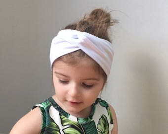 White Twisted turban head wrap / headband / baby toddler turban headband / jersey headband / baby turban / kids head wrap / adult headband