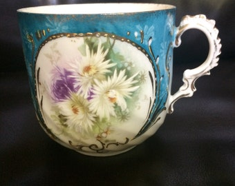 Antique Flowered Moustache Mug