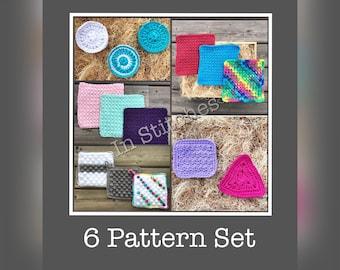 CROCHET PATTERN SET/Cotton Crochet/Crochet Dishcloth/Crochet Facecloth/Crochet Facial Scrubbies/Crochet Pot Holder