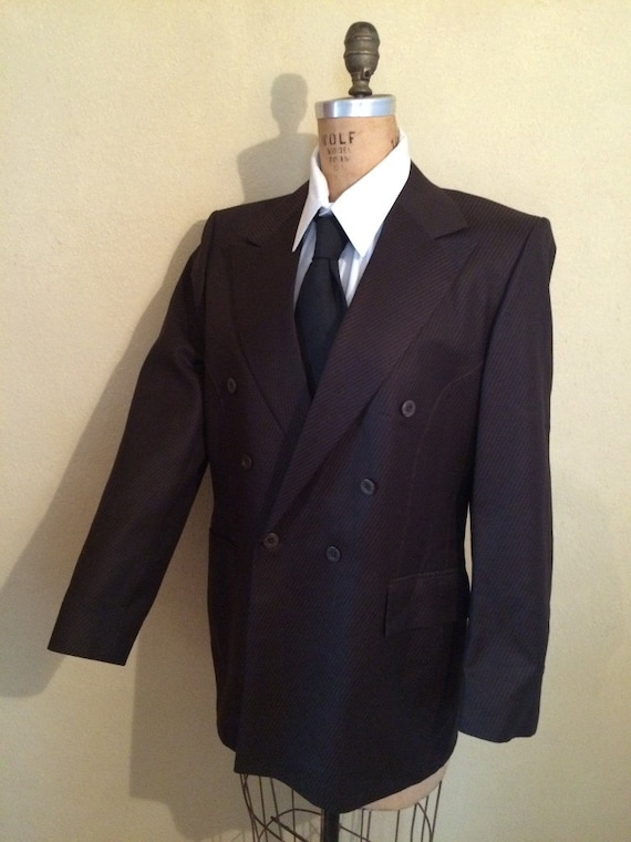 Double Breasted Grey Flecked Suit New Old Stock Primo Steet Smart Men's True Vintage Chest 40