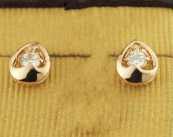Crystal Inlaid Oval Waterdrop Design 18k Rose Gold Stud Earrings