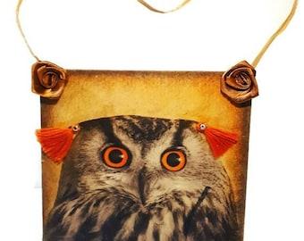 Owl lover owl maniac  doorhanger wood decoupage wall decor handpainted homedecor giftidea gift for kids, gift for birthday, gift for friends