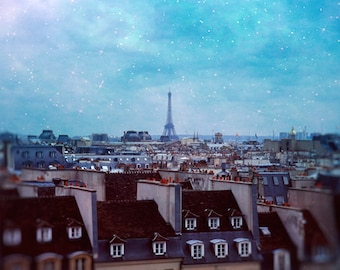 Paris Photography, Sparkling Paris Sky, Fine Art Print,  Eiffel Tower, Evening in Paris, Parisian Decor, Paris Rooftops, Blue, Travel Decor