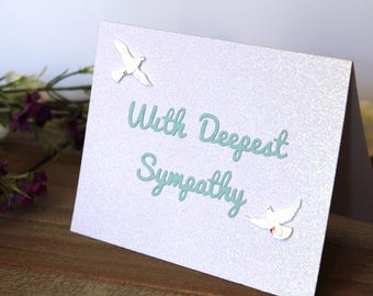 Handmade Sympathy Card, Condolences, White Glitter, Blue Lettering, Doves, With Deepest Sympathy, Blank Inside, Free US Shipping
