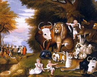 "Peaceable Kingdom by Edward Hicks, 8""x11"", Giclee Canvas Print"