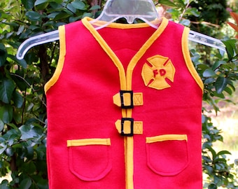 Fireman Vest. Fire Department Kids Vest. Fireman Costume. Fireman Hero Dress up Vest.