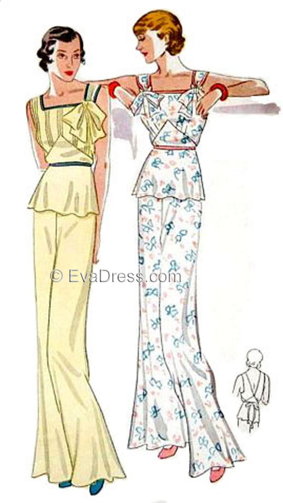 Vintage Inspired Nightgowns, Robes, Pajamas, Baby Dolls 1935 Lounging Pajamas Pattern by EvaDress1935 Lounging Pajamas Pattern by EvaDress $20.00 AT vintagedancer.com