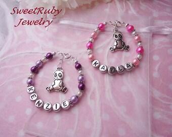 1 pcs Personalized Little Panda Charm Bracelet - Girls/Boys/Ladies/Women - Custom Design Available -  w/ an Elegant Gift Box