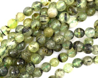 "8mm faceted green prehnite round beads 15.5"" strand 35198"