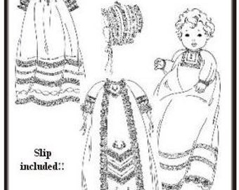 Christening Gowns Pattern  / Raglan Sleeves / Slip & Bonnet Included /   Boys or girls / 3 Styles / The Old Fashioned Baby