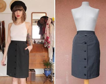 1960's Navy Blue Pencil Skirt - Size S