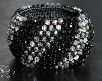 seed bead bracelet, seed bead jewelry, beaded bracelet, beaded jewelry, silver bangle bracelet, bangle bracelet, glass bead jewelry, bangle