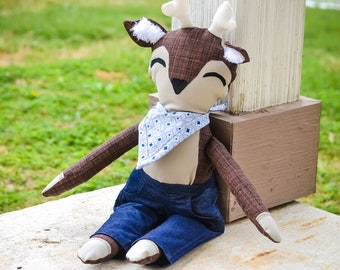 Boy Stuffed Animal - Deer - Deer Toy - Plush Toy - Plush Deer - Woodland Animal - Plushie - Stuffies - Toys - Custom Made Stuffed Animal
