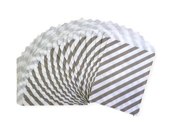 Gray Diagonal Stripe Candy Treat Bags, Party Favor Bags, Party Supplies