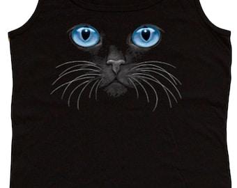 Ladies black tank top / Blue eyed cat