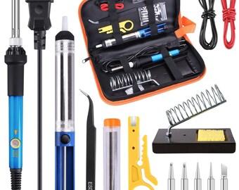 Soldering Iron Kit Electronics 60W Adjustable Temperature Welding Soldering Gun