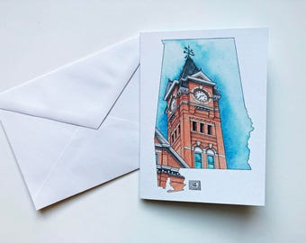 Auburn Samford Hall greeting cards, Alabama landmark cards, set of 8 cards and envelopes,greeting cards, Auburn Graduation, Clock tower