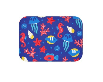 Bath Mat, nautical bath mat, sea bath mat, kids bath mat, colorful bath mat, kitchen bath mat, gift under 30, bath decor, new home gift