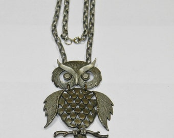 Vintage Mixed Metal Owl Articulated Pendant Necklace