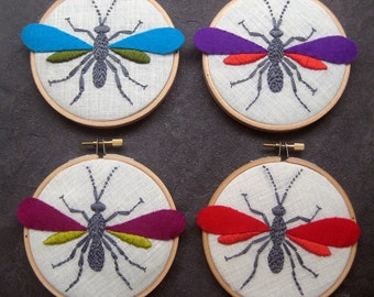Wasp by mlmxoxo. hand embroidered. hoop art. steampunk. pure wool felt. housewarming gift. nature lover's gift. 4 inch embroidered hoop art.