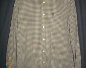 Plaid Abercrombie & Fitch Large Brown Green Button Front Cotton Mens Shirt