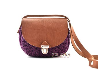 Small leather cross body bucket bag crochet purse round sling bag shoulder messenger bag boho style small saddle bag women purple clutch bag