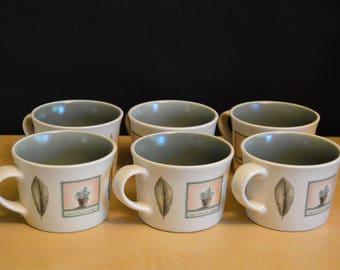 Set of 6 Pfaltzgraff Naturewood Cups, 8 oz Mug, Garden Design, Sage Green Interior