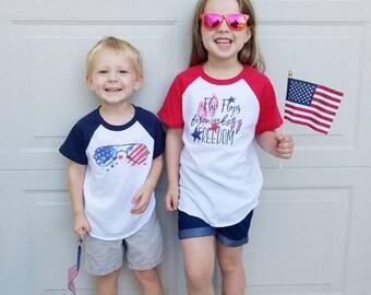 Ready To Ship - Fourth of July Tee - July 4th Graphic Tee - Boys Raglan Tee - Girls Patriotic Shirt - Patriotic Sibling Tees