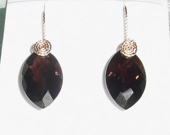 28 cts Natural Marquise Smokey Quartz gemstones, 14kt yellow gold Pierced Earrings