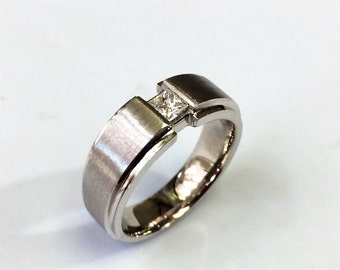 14 K Comfort fit Princess cut  Diamond  Wedding Band