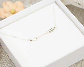 SALE! Arrow Necklace, Sterling Silver, Love Necklace, Bridesmaid Gift, Cupid's Arrow Necklace